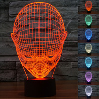 Baby Face 3D Night Light Illusio Lamp Remote Switch USB LED Luminous Small Table Bedroom Cafe