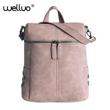 2019 Vintage Women Backpacks Leather School Bags For Teenage Girls Backpack Female Black Travel Bagpack Mochila