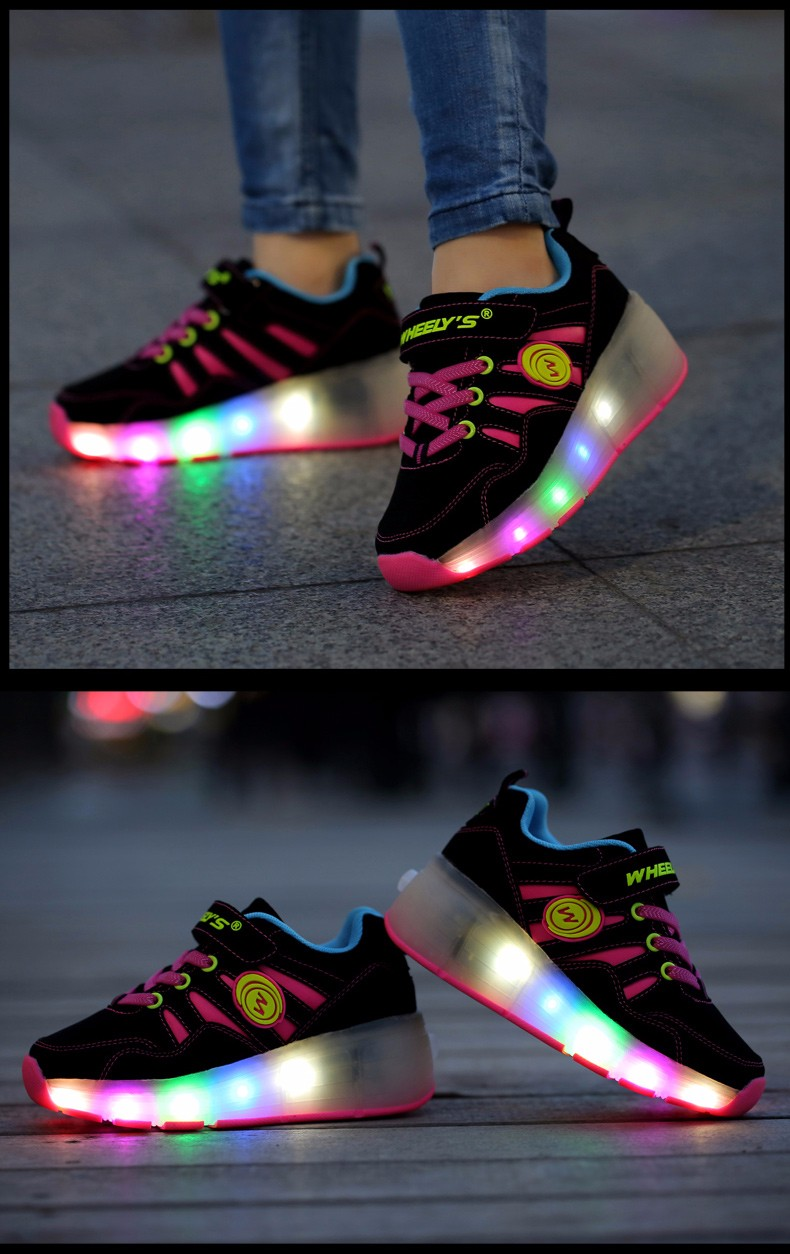 High Quality Cheap Boys LED Sneakers With Wheels Kids Light Up Shoes Girls Roller Skates tenis de rodinha8
