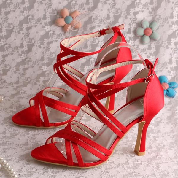 abb14876a49 Wedopus MW795 Custom Handmade Gladiator Style Strappy High Heel Prom Sandals  Red Satin