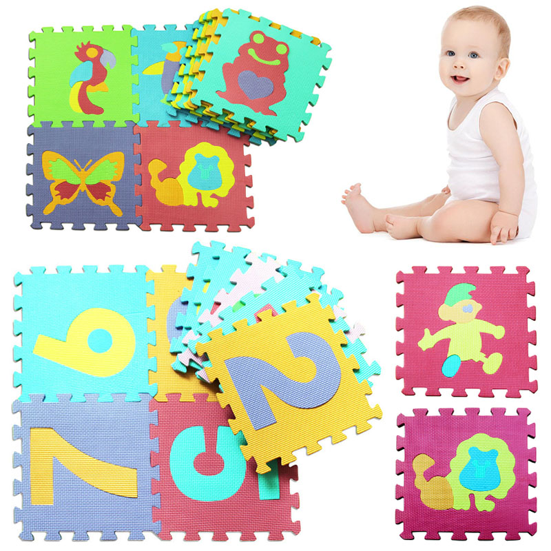 10 PCS Cartoon Animal Pattern Carpet EVA Foam Puzzle Mats Kids Floor Puzzles Play Mat For Children Baby Play Gym Crawling Mats