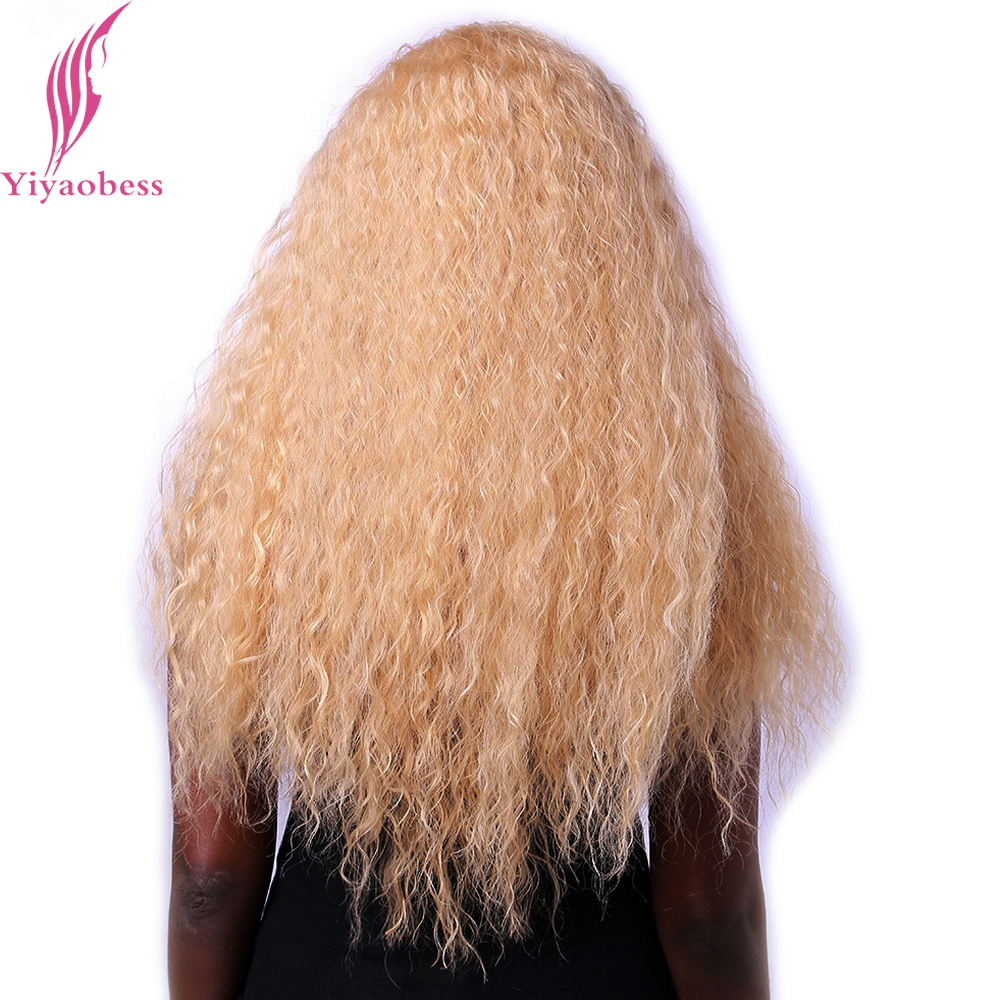 Yiyaobess 28inch Heat Resistant Synthetic Long Afro Kinky Curly Wig Natural Hair African American Wigs For Black Women in Synthetic None Lace Wigs from Hair Extensions Wigs