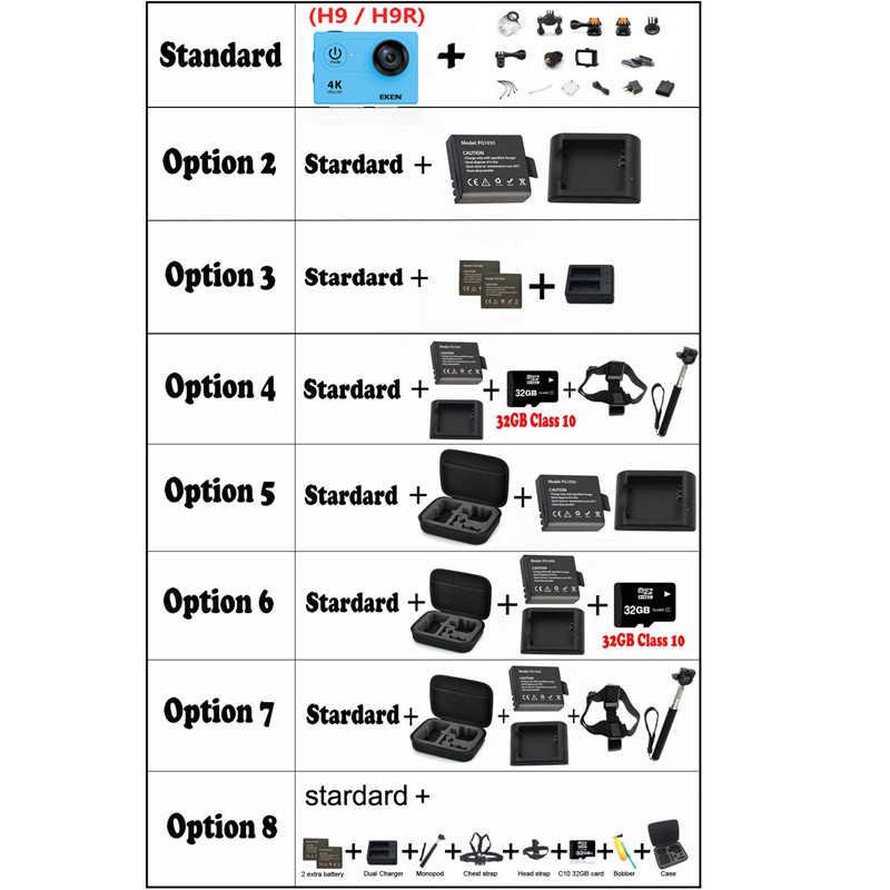 Оригинальная экшн-камера 100% eken H9/H9R Ultra HD 4 K WiFi 1080 P/60fps 2,0 lcd 170D объектив шлем Cam Водонепроницаемая профессиональная спортивная камера