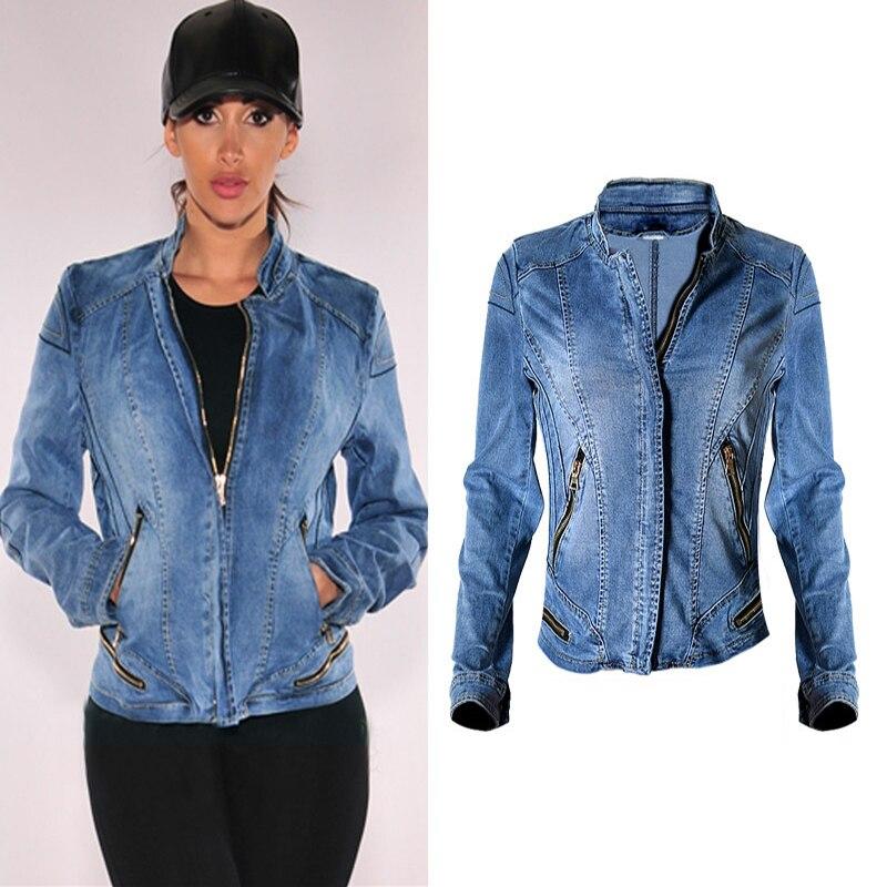 2019 nouvelle offre spéciale mode femmes vestes de Baseball veste en Denim extensible multi-zipper court moteur Style Chaqueta femme Denim manteaux