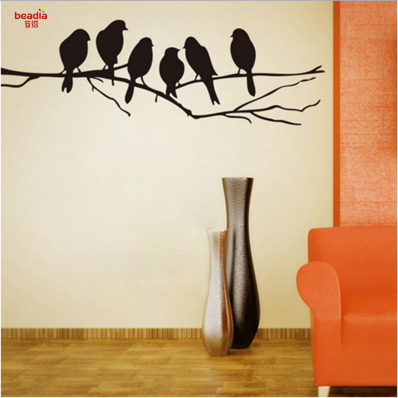 Classic Branches Bird Vinyl Wall Stickers Living Room PVC Wall Decoration Stickers Hotel Office Decoration Wall Stickers