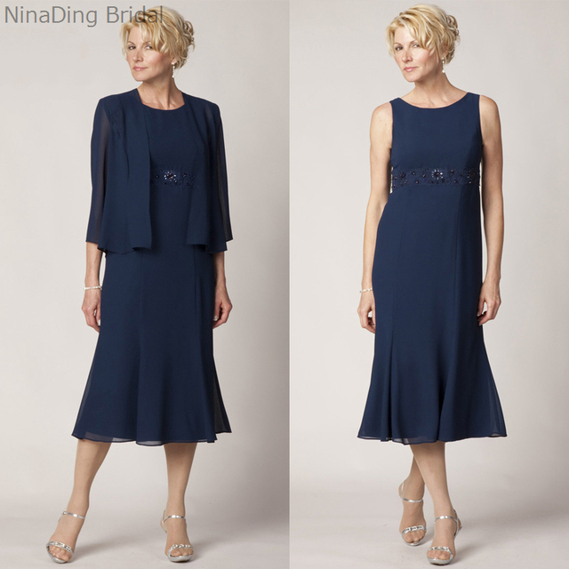 Lace Tea Length Mother Of The Bride Dress Plus Size Navy Blue With