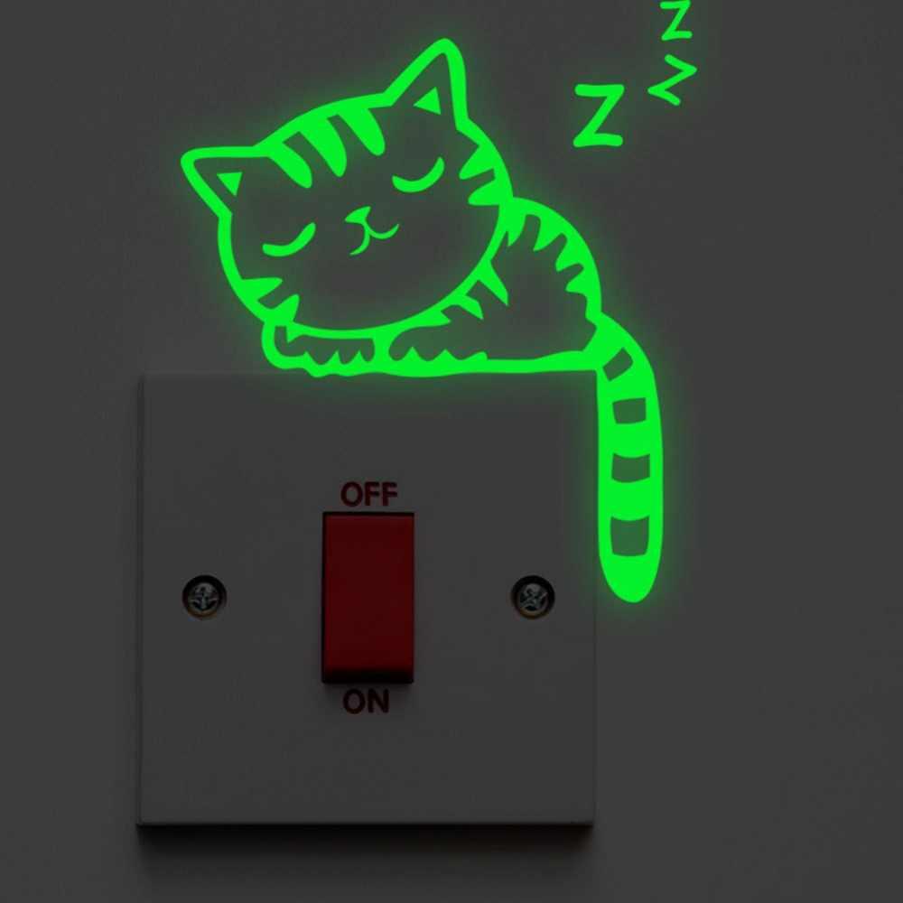 漫画で発光スイッチステッカーホームインテリアキッズルームデコレーションステッカーデカール猫妖精ムーンスター