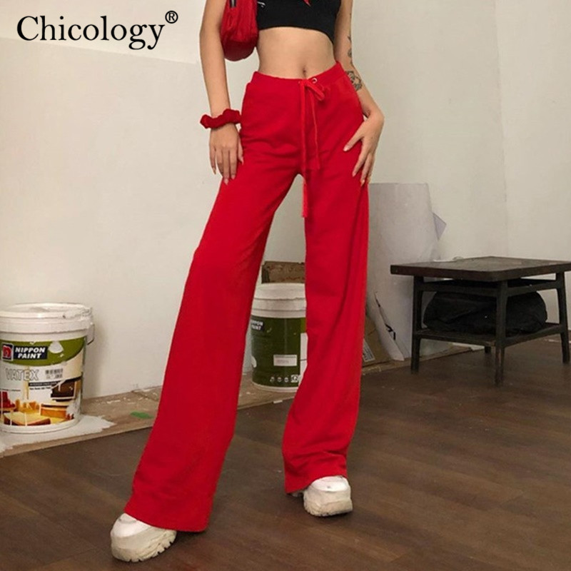 Chicology Embroidery Wide Leg Velvet Trousers Lace Up High Waist Long Pants 2019 Autumn Winter Women Sexy Club Female Clothes