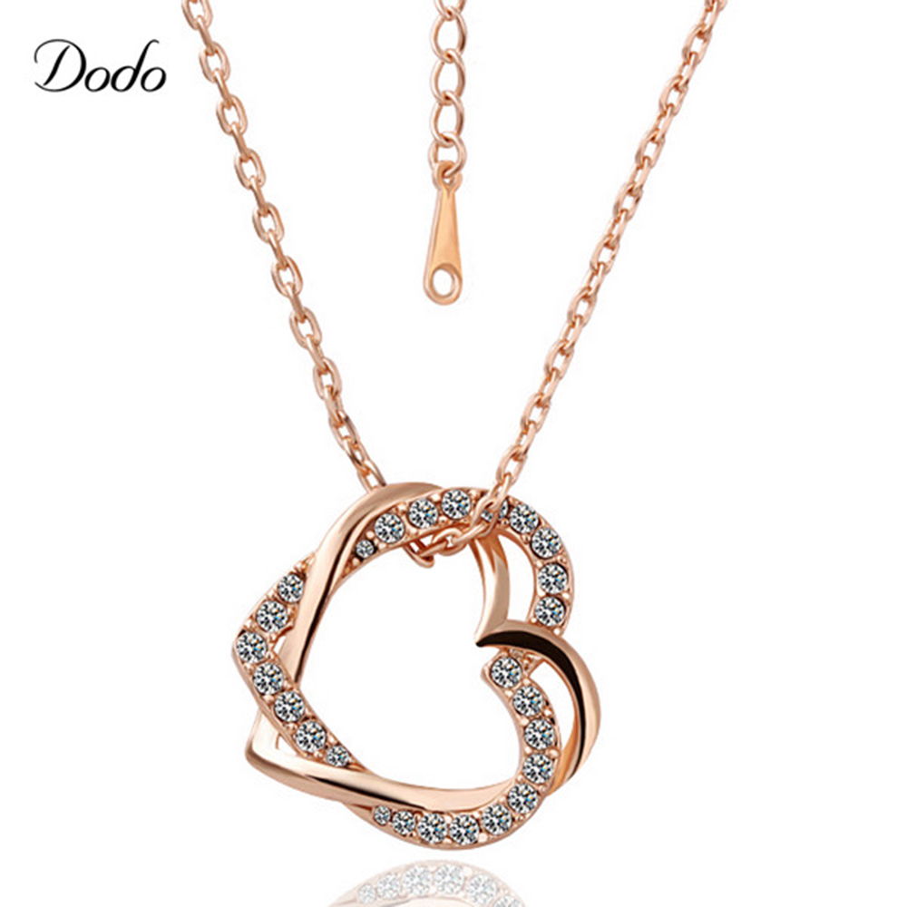 Dodo fashion necklaces womens dress rose gold color heart shape dodo fashion necklaces womens dress rose gold color heart shape vintage crystal decoration crystal cute jewelry agd217 in pendant necklaces from jewelry mozeypictures Choice Image