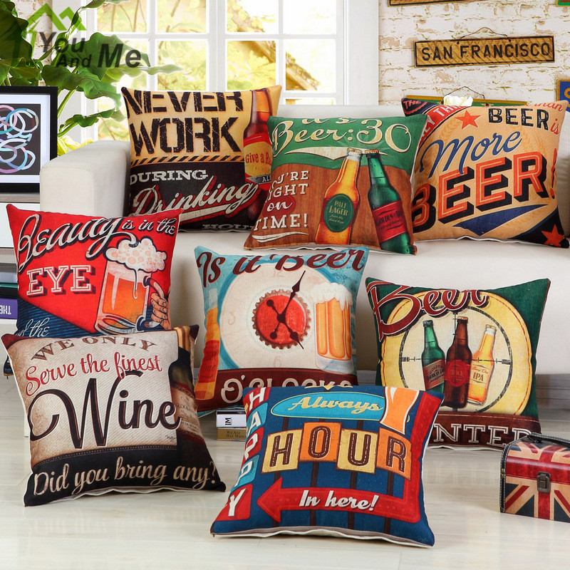 45x45cm Retro Vintage Beer Printed Cushion Cover Bar Pub Sofa Chair Decorative Cotton Li ...