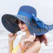 lady summer sun hat big along straw new beach protection outdoor