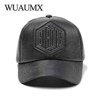 Comprar ahora Wuaumx marca nueva moda PU cuero gorras de béisbol para  hombres mujeres Faux cuero 48e3c4e1508