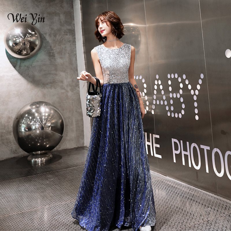 wei yin 2019 Plus Size Elegant Evening Dresses A Line Sparkle Sequined Long Dress Formal Occasion Party Gowns WY1753