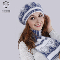 SUPANDAN Knitted Wool Angora Hat Scarf Gloves Set Women Caps Beret Hat Thick Warm Multi Color