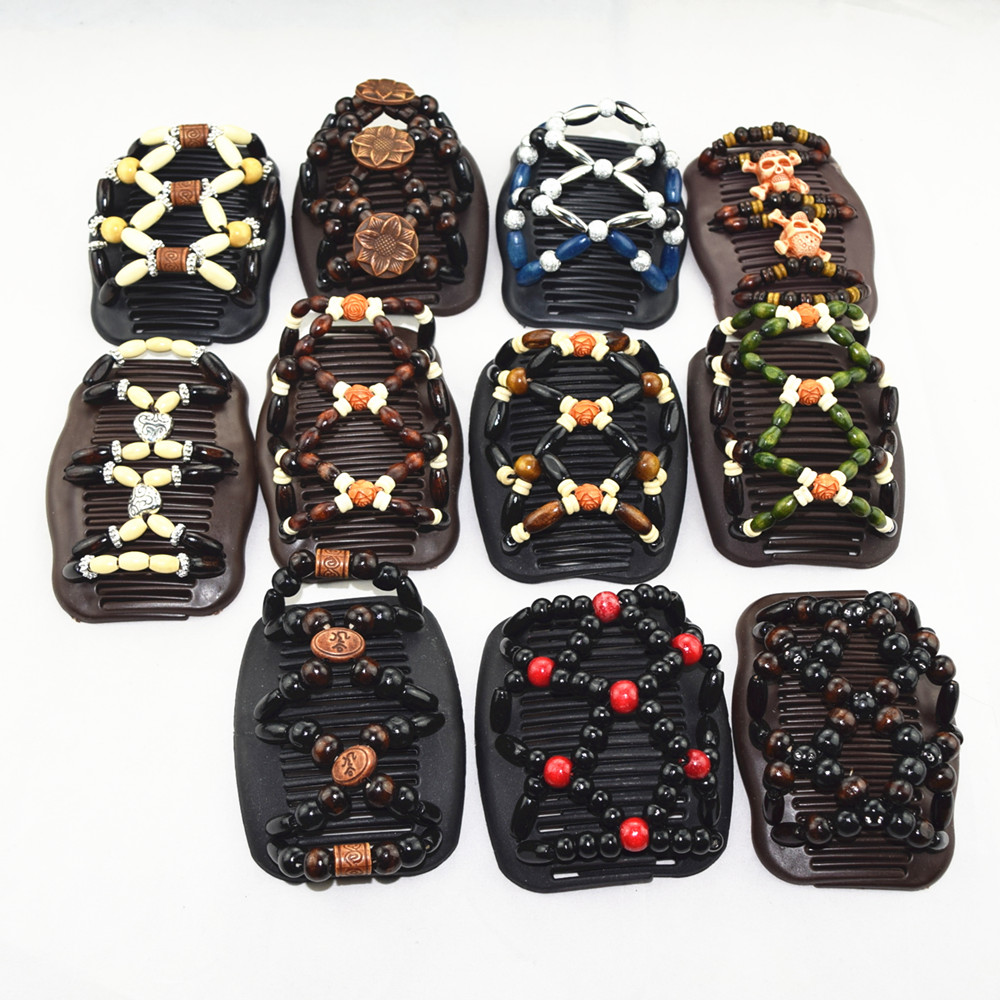 40pcs lot Mixed Style Fashion Magic Hair Combs Wooden Beaded Hair Clips Accessories Women Jewelry