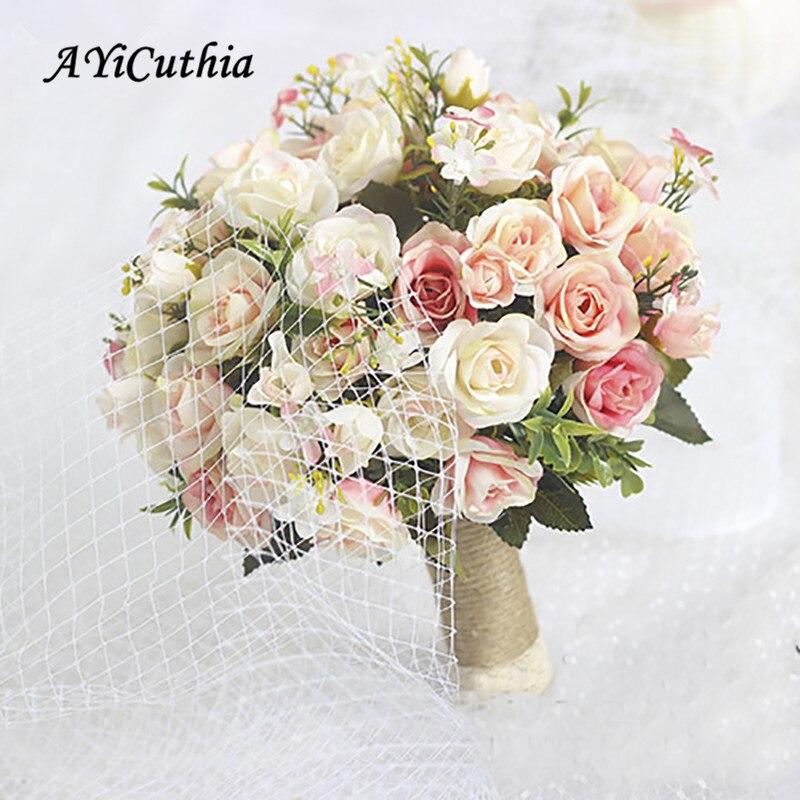 AYiCuthia Wedding Bouquet Handmade Artificial Flower Rose Buque Casamento Bridal Bouquet For Wedding Decoration Ramos De Novia