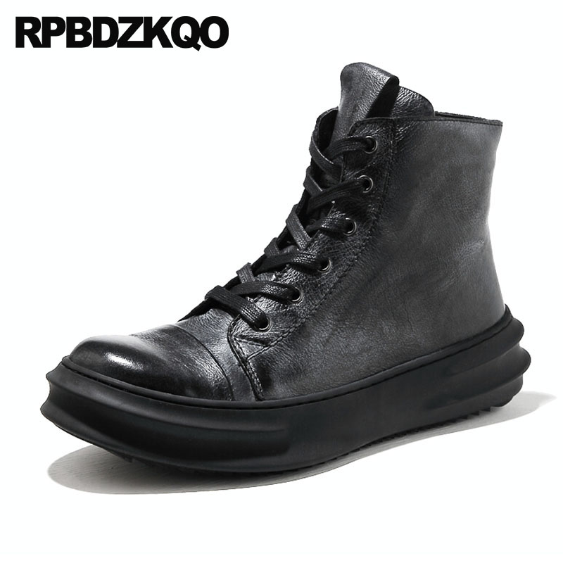 Thick Soled Boots High Platform Sneakers Harajuku Booties Trainer Sole Black Real Leather Full Grain Zipper Shoes Ankle Men Top