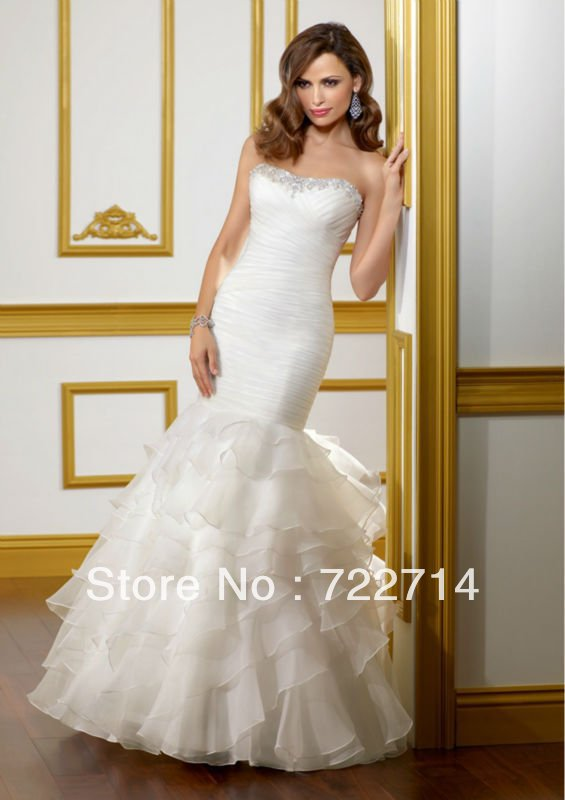 Goingwedding Ruffle Skirt White Bling Mermaid Wedding Dresses With Long Train 2013 In From Weddings Events On Aliexpress