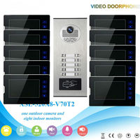 Yobang Security RFID Access 10 Units Apartment Video Doorphones Device 7 Villa Video Door Phone Door Intercom Door Bell Kits