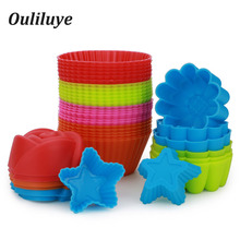 12/6/1PCS Silicone Muffin Mold For Baking Cake Cupcake DIY Cup Bakeware Kitchen Tools Random Color