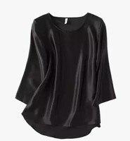 2017 chun xia temperament 100 mulberry silk silk black silk round neck long sleeve female T shirt