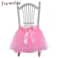 JOY ENLIFE Pink White Beautiful Bow Tulle Chair Skirt Chair Cover Wedding Decor Birthday Party Christmas