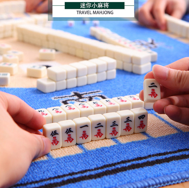 Us 26 88 Traveling Mahjong Game Portable Mini Mahjong With Mini Foldable Table Home Games Chinese Funny Family Table Board Game In Figurines