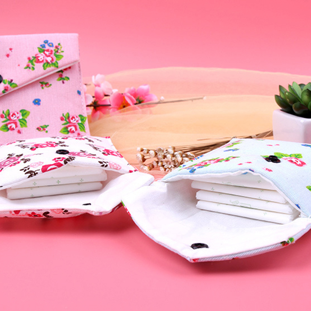 Flower Print Sanitary Towel Bag Storage Female Hygiene Sanitary Napkins Package Small Cotton Storage Bag Purse Case 1PC 3 Colors pink floral towels