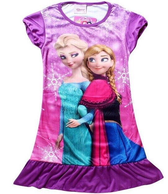 Frozen pajamas Summer Nightgowns Princess Girl print Cartoon ...