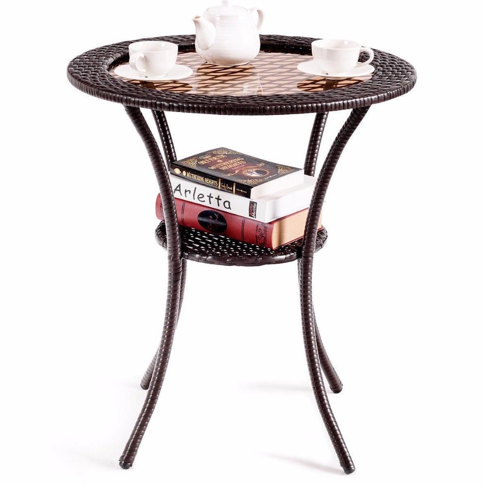 Giantex Round Rattan Wicker Coffee Table Glass Top Steel Frame
