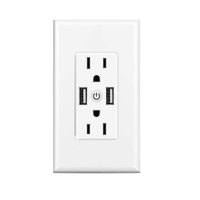 Smart Wifi Wall Outlets With Dual 2.4A Usb Fast Charging Ports, Independently Controllable Wall Outlets For Alexa Google Home