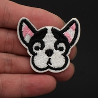 2Pcs Cute Tinny Bulldog Embroidered Patch for Clothing Iron Sew Applique Shirt Jacket Bags Sticker Badges DIY Patch for Jeans