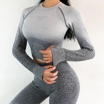 Women Yoga Set Gym Clothing Ombre Seamless Gradient Leggings+Long sleeve Top Workout Sport Suit Women Fitness Set Active Wear 1