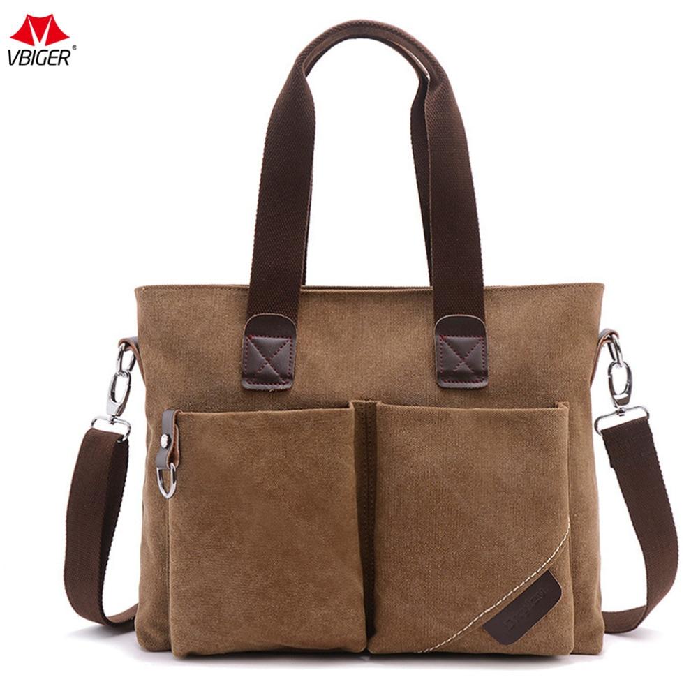 Vbiger Unisex Canvas Handbag Stylish Business Shoulder Bag Casual Messenger Bag with Detachable Shoulder Strap Fits 14 Laptop