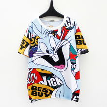 harajuku t shirt women funny cartoon letters printed colorful t-shirt tops D836