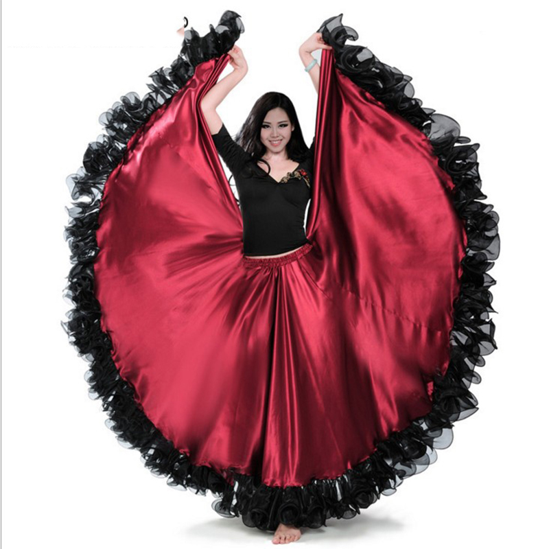 Spanish Bullfight Festival Performance Dance Flamenco Skirts Falda Flamenca Gypsy Skirt For Women Plus Size Belly Skirt DL2873