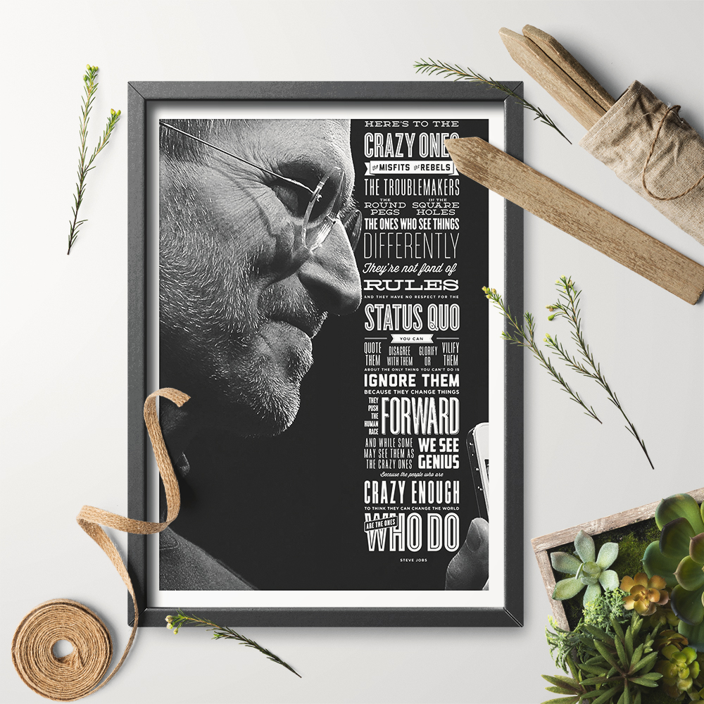 Steve Jobs Art Print Wall Art Here Is To The Crazy Ones Quote Think different Print Poster Canvas Painting No Frame Home Decor