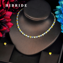 HIBRIDE Fashion Hear Shape Jewelry sets For Women Accessories Yellow CZ Stone Necklace Set Bridal Jewelry Gift Bijoux N 567