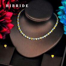 Hibride moda ouvir forma conjuntos de jóias para as mulheres acessórios amarelo cz pedra colar conjunto jóias nupcial presente bijoux N 567