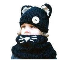 Зимой На Открытом Воздухе Шляпы Черный Шерсть Кошки Мягкие теплые Шапки для детские Девушки Платок Beanie Шляпы Caps Набор детские шапки и Шарф набор
