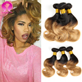 Indian Ombre Hair Body Wave 3 Bundles Indian Body Wave Human Hair Weave Two Tone Indian Remy Hair Weave 1b 30 And 1b 27