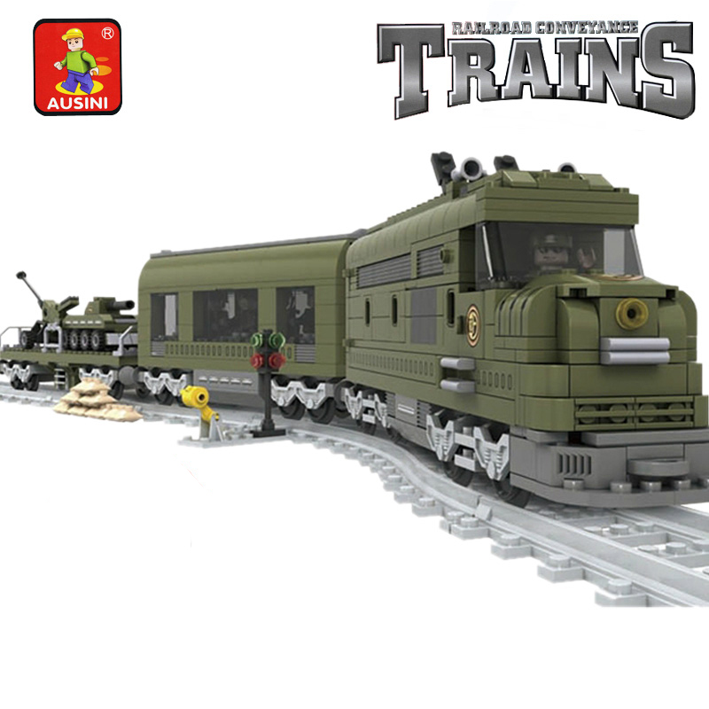 Model building kits compatible with lego City MILITARY TRAIN Rail 3D blocks Educational model building toys hobbies for children цена