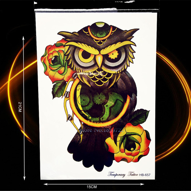 1pc Cool Owl Tattoo Men Women Back Decals Machine Wise Owl Flower