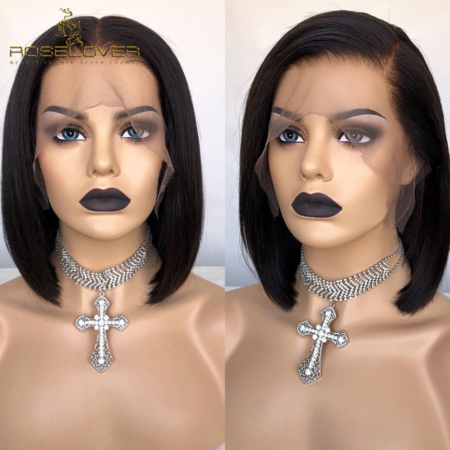 13 6 Straight Lace Front Wig 180 Pre Plucked Short Bob Human Hair Wigs Deep Part