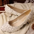 2017 new arrival  handmade bride wedding shoes pearl flat heel wedding shoes white wedding shoes