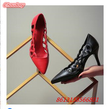 Hollowed Out Breathable Women Pumps Pointed Toe High Heels Shoes Women Office Lay OL Shoes Sexy Thin Heels Female Comfort Shoes