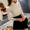 Nuevas mujeres de cuello alto de punto femenino suéter de punto delgado suéter del estilo coreano niñas medio collar del todo-fósforo de la camisa básica