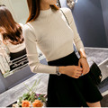 new fashion women turtleneck knitted sweater female knitted slim pullover korean style girls half collar all-match basic shirt