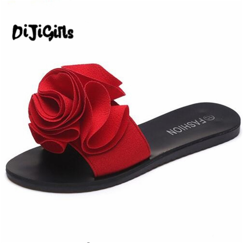 2018 New Slippers Platform Sandals Slip On Flats Casual Shoes Woman Beach Flip Flops Flowers Women Shoes 2017 summer pearl women slippers velvet sandals flip flops slip on flats woman beach platform women shoes plus size 35 39