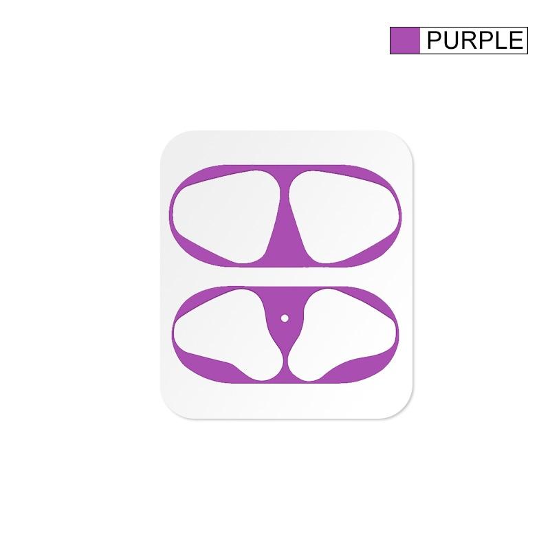 Металлическая Пылезащитная наклейка для Apple AirPods, чехол, Пыленепроницаемая защитная наклейка, защитная пленка для Air Pods, аксессуары - Цвет: Purple